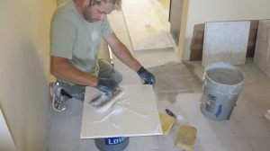 Setting Limstone Tile