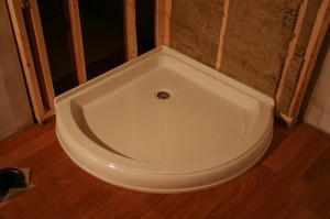 Fiberglass Shower Base, Photo by Daryl Sawatzky