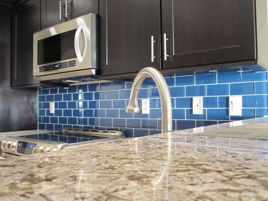 A Glass Subway Tile Backsplash