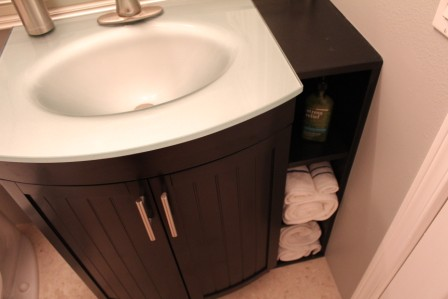 stock vanity in low cost bath remodel - Low Budget Bathroom Remodel