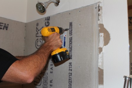 Tile backer board installation key steps for a quality for Drywall or cement board for shower