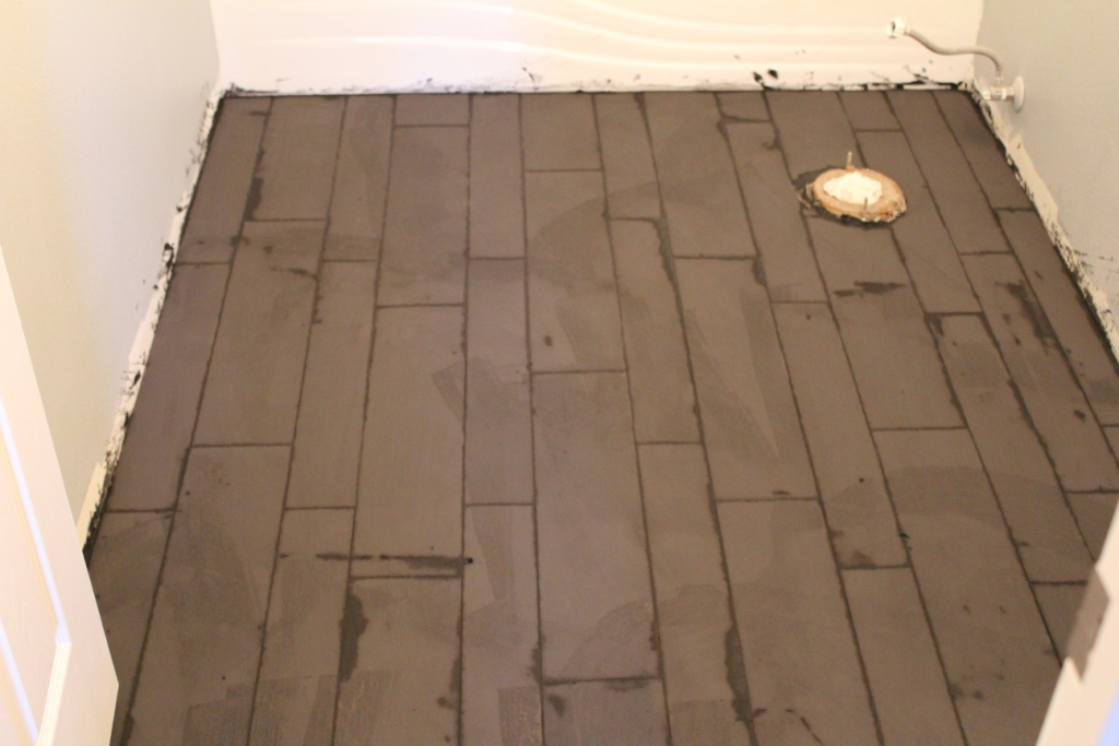 Grouting - Tile That Looks Like Hardwood- Armchair Builder :: Blog :: Build