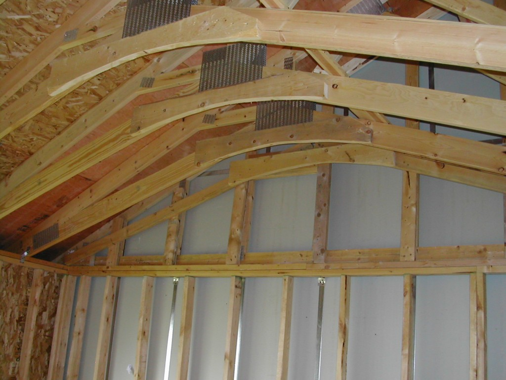 Vaulted Ceiling with Trusses at Frame Stage